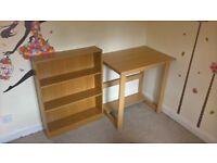 desk and bookcase for sale