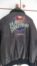 Vintage Leather Planet Hollywood Bomber Jacket