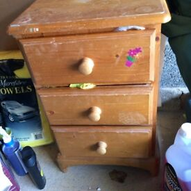 Pine bed side chest of drawers