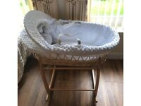 Clair de Lune Moses Basket and Rocking Stand - Immaculate Condition