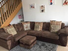 Corner Sofa bed with large storage footstool
