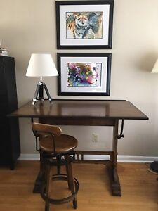Drafting table desk with stool