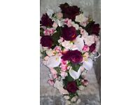 bridal bouquet, artificial silk roses and foam lilies, burgundy, cream and pinks.