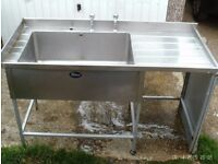 STAINLESS STEEL SINK AND TAPS STEEL LEGS FAIR CONDITION