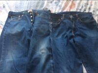 Two pairs of men's Levi's jeans