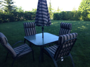 Patio table,4 chairs and umbrella