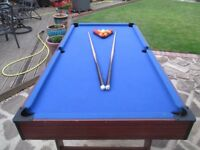 Pool Table, blue cloth, centre ball return, balls & queues.