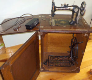 Antique New William Treadle Sewing Machine with Cabinet