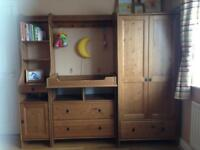 Ikea Leksvik furniture set (nursery) antique pine solid wood wardrobe chest of drawers cabinet