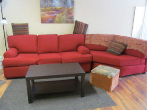 Rusty Red Sectional Chesterfield