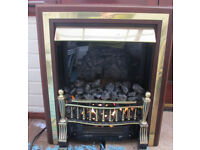 Living Room Electric Coal Effect Fan Fire Wood Style And Brass Surround 2 Settings
