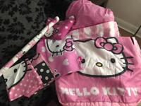 Hello Kitty Bundle Hello kitty Ready Bed,single bedding, 2pillow cases, Blanket, Wall Stickers