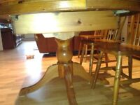 DUCAL PINE 6 SEATER TABLE AND PINE CHAIRS