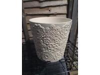 Cream embossed ceramic planter