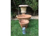 Vintage Terracotta Garden Plant Pots x 2 plus Urn