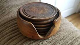 6 wooden coasters and holder