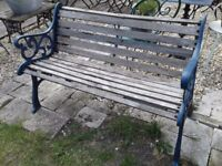 OLD GARDEN BENCH OR SEAT SLATTED CAST IRON