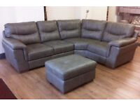 ScS Dayson - Taupe Leather LARGE CORNER SOFA + FOOTSTOOL (RRP £2,198) + FREE LOCAL DELIVERY