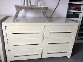 Next chest of drawers high gloss white ivory