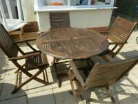 Teak garden table + 4 chairs