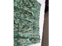 Pair of heavy dark green curtains size 90 wide x 54 drop