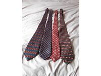 4 mixed mens's ties mostly red with blue combination