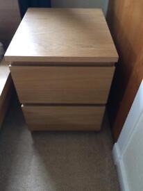 Malm oak veneer bedside drawers