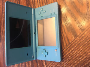 Blue Nintendo DSi with charger, 3 games and game holder