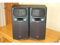 Sanyo SX-X1050 stereo speakers, 30 Watts input, 4 Ohms impedance.