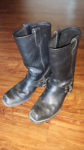Men's Black Leather Motorcycle Boots