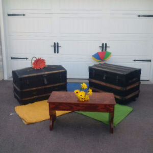 2 ANTIQUE BLACK TRUNKS OR CHESTS +ANTIQUE BENCH + MORE