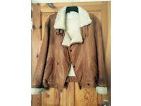 Leather and sheepskin flying jacket