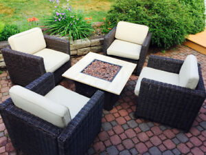 Patio furniture and propane fire table