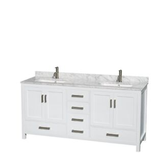61-Inch W x 22-Inch D Marble Square Double Basin Vanity Top ONLY