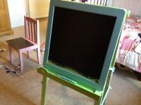 Child's black board while board easel style