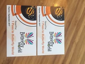 2 FREE BUTTERFLY WORLD DAY PASSES