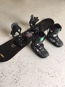 Boys Snowboard ONLY USED ONCE with boots and bindings included