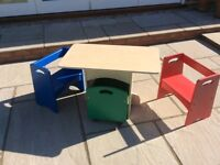 Children's table, chairs and storage box