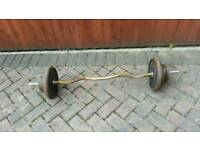 40kg York cast iron weights solid EZ bicep curl barbell