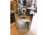 Next mirrored side Table with Drawer and glass shelf
