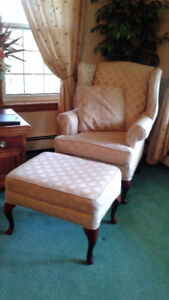 Two Queen Anne Chairs and One matching FootStool