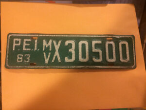 PRINCE EDWARD ISLAND THIN LICENSE PLATE # MVX 30500 1983