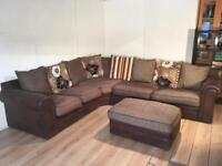 Brown large corner sofa with free delivery within London