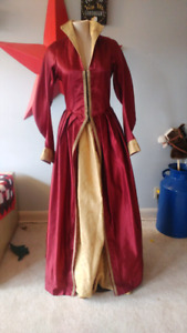 Red Satin Queen Mary dress