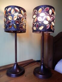 Set of bronze table lamps with glass droplets