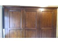 Triple dark wood wardrobe