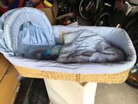 Blue mamas and papas Moses basket