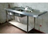 Double STAINLESS STEEL SINK & Hand Wash / kitchen / catering