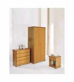 3-Piece Bedroom Set with 2-Door Wardrobe, 4-Drawer Chest & and Single Drawer in Natural Pine