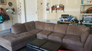 New brown Oakdale Sectional and Ottoman